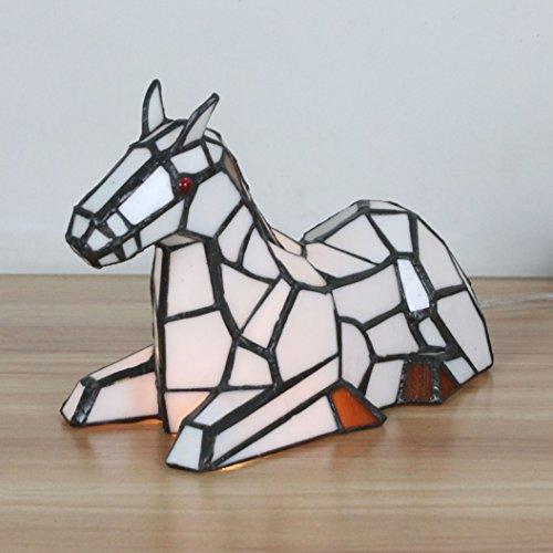 (Gweat Home Deco Fresh Pastoral White Horse Table Lamp Children's Lamp Night Light)