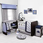 Elephants-BlueGrey-10-pc-Crib-Set-Including-Bumper-Pad