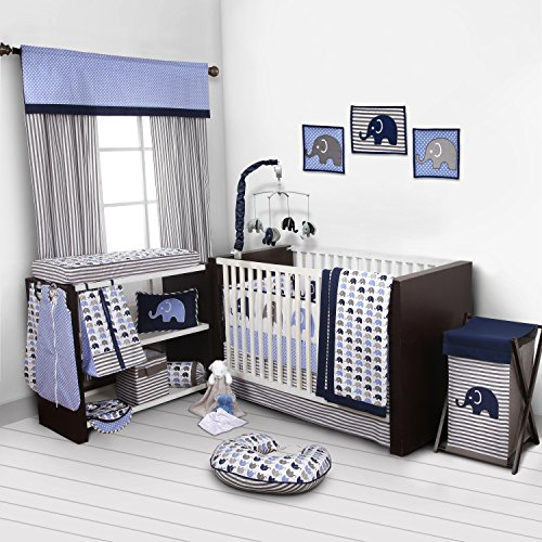 Elephants Blue/Grey 10 pc Crib Set Including Bumper Pad (Bedding Set For Baby Boy Crib)