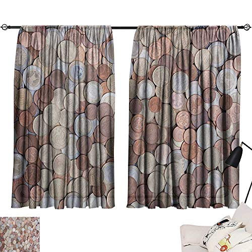 - Davishouse Money Decor Curtains Close Up Photo of Coins European Union Euros Cents on Rustic Wooden Board Home Garden Bedroom Outdoor Indoor Wall Decorations