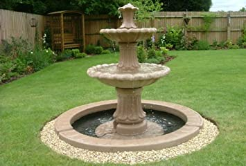 Stone Garden Water Fountain. 4ft 3inch 2 Tier Fountain And 4ft 10inch  Single Pool Surround