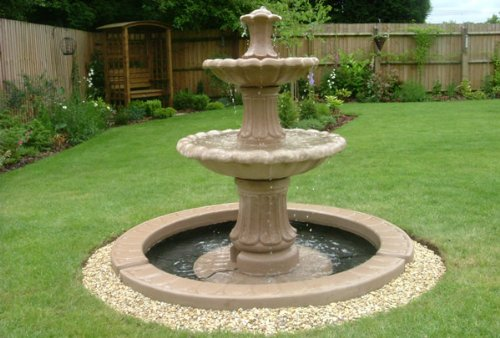 Stone Garden Water Two Tiered Fountian With 4ft 10u0026quot; Single Base Self  Contained Outdoor Ornate