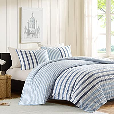 """INK+IVY II10-048 Sutton Comforter Set, King, Blue - The Sutton Comforter Set shows off sublet stripes in dark, medium and light blue amidst a white seersucker background. The different stripe widths along with the color variations add dimension to this clean look. The INK+IVY Collection offers a unique comforter finishing technique that offers a clean, duvet-like finish with no bar tacks on the top of the comforter. Made from yard dyed, 100% cotton, this set includes a comforter and one sham. Set Include:2 King Shams:20x36"""" (2) 1 Comforter:106x94"""" Material Details:Comforter & Sham: 100% cotton yarn dyed, 100% cotton percale solid revese Comforter Filling: 300 gram/sqm poly fill - comforter-sets, bedroom-sheets-comforters, bedroom - 51gyG0 fkwL. SS400  -"""