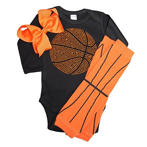 FanGarb Rhinestone Baby Girls Basketball Black Outfit, Orange Basketball Leg wamers & Bow