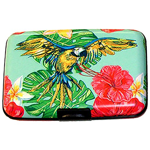 Blue Yellow Parrot Bird Armored Credit Card Rfid Block Wallet And Cash Holder