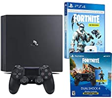 Playstation 4 Pro Fortnite Frostbite and Royale Bomber Cosmetic Bundle: 1500 V-Bucks, Two Wireless Controllers, Royale Bomber, Frostbite Cosmetic Set with 1TB Playstation 4 PRO 4K HDR Console