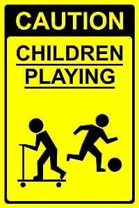 Precaución niños jugando señal de seguridad–3mm aluminio señal de 600mm x 400mm