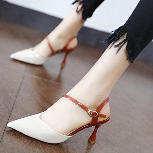 Xue Qiqi Tipp mit High Heels mit Tipp dünnen Glas mit lackiertem Leder geschlitzten Schnalle Baotou Sandalen 35 Beige a0550f
