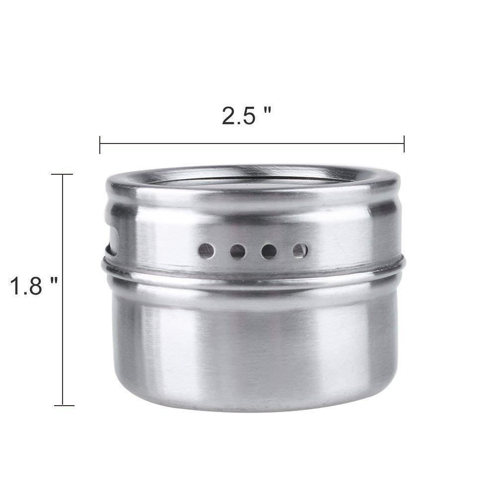 Botes para especias, 6 piezas Pote de condimento magnético de acero inoxidable - Perchero Almacenamiento de condimentos Bandeja de jarras conjunto: ...