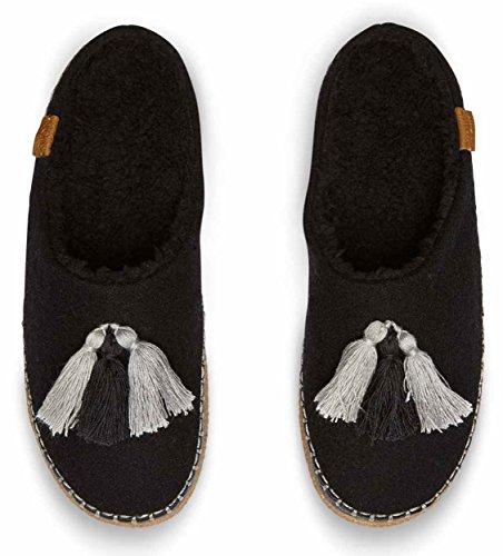 TOMS Womens Slipper (Black Wool/Tassels) 2EZfe0Z