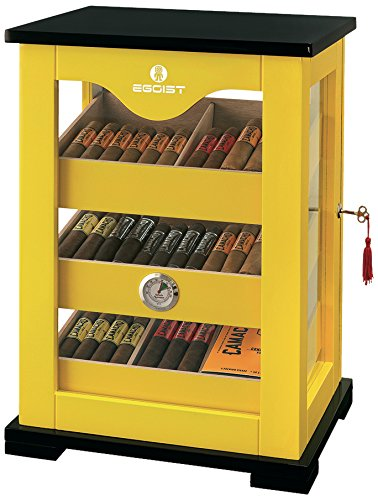 Egoist Premiuem - Zigarren Humidor Schrank aus Holz mit Hygrometer und Befeuchtungssystem für ca. 100 Zigarren I Zigarren-Zubehör - Gelb