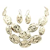 Gypsy Jewels Abstract Shapes Cluster Boutique Style Statement Necklace & Earring Set (Hammered Ovals Gold Tone)