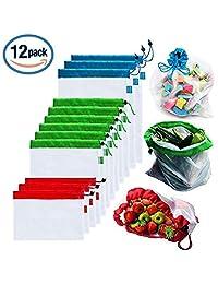 Bolsas reutilizables de malla de producción Bolsas lavables para almacenaje de tiendas de comestibles, frutas, vegetales y juguetes costuras dobles, resistentes, con etiquetas que indican el peso y en varios tamaños (12)