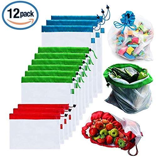Bolsas reutilizables de malla de producción Bolsas lavables para almacenaje de tiendas de comestibles, frutas, vegetales y...