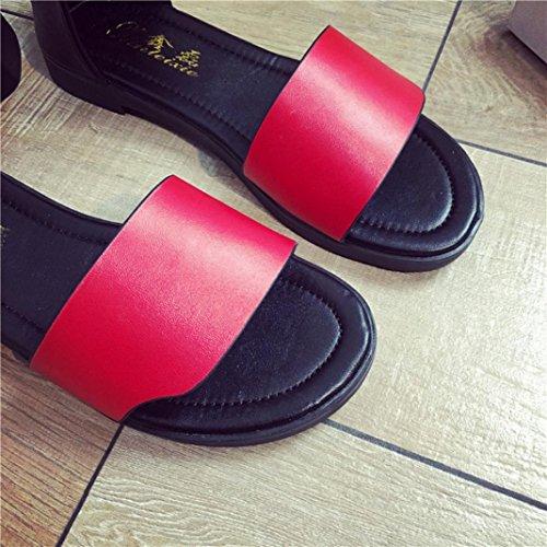 Sandales Romaines Pantoufles Confortables Pompon Rouges D'été Chaussures Occasionnels Sandales Décor Transer Femmes Plat Dames 6BX0Zzz