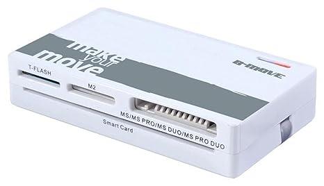 B-Move BM-CR06 - Lector de Tarjetas de Memoria (Cable USB Integrado, Soporte de Tarjeta SIM), Blanco