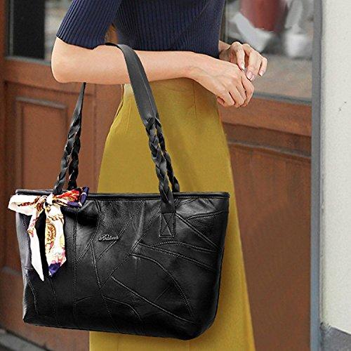 mioim Borse Donna Pelle Elegante Cerniera Borse Borse Viaggio Grandi Donna Handbag Shoulder Bag Tote Bag Borse a Tracolla Moda con Piccolo Fiocco