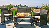 Outroad Outdoor Furniture 4 Piece Grey Wicker Patio Sofa Set – All Weather Cushioned Wicker Love Seat W/Glass Top Table & Two Armchairs