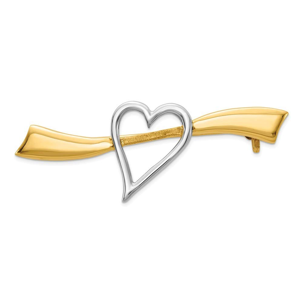 14k Two-Tone Gold Solid Satin Polished Heart Pin