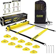 POWER GUIDANCE Agility Ladder (20 Feet) for Speed & Agility Trainning - with 12 Heavy Duty Plastic Rungs,