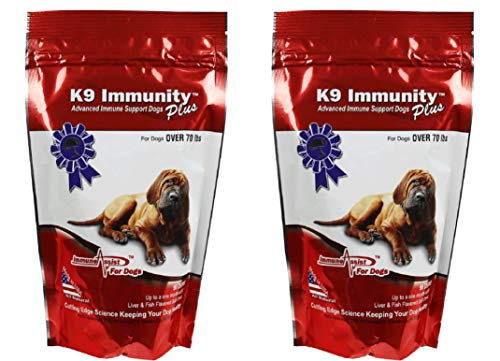 Aloha Medicinals - K9 Immunity Plus - Potent Immune Booster For Dogs Over 70 Pounds - Certified Organic - Mushroom Enhanced Supplement - Veterinarian Recommended Dog Health Supplement -90 Chews 2 Pack