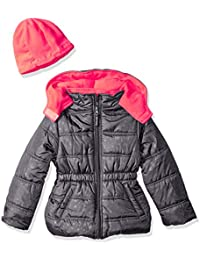 Girls' Star Printed Puffer with Hat