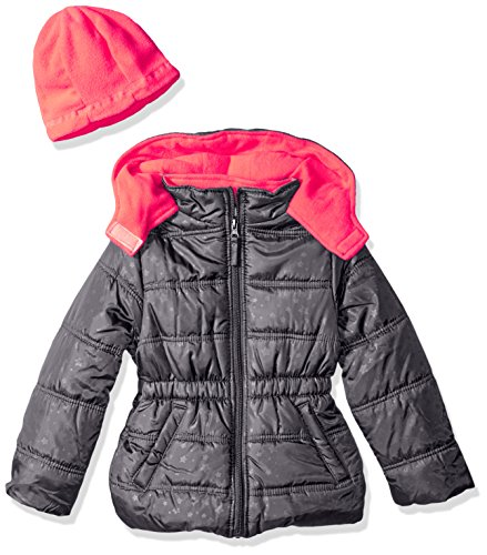 Platinum Printed 4 Pink Charcoal with Star Girls' Puffer Hat Little dvn1WpRf
