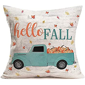 Royalours Fall Pillow Covers Cotton Linen Rustic Style with Blue Truck Pumpkin Decorative Throw Pillow Case Autumn Maple Leaves Cushion Covers 18