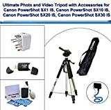 Ultimate Photo and Video Tripod with Flexible Monopod, Universal Adapter, Deluxe 5PC Lens Cleaning Kit and USB FlashCard Reader for Canon PowerShot SX1 IS, Canon PowerShot SX10 IS, Canon PowerShot SX20 IS, Canon PowerShot SX30 IS