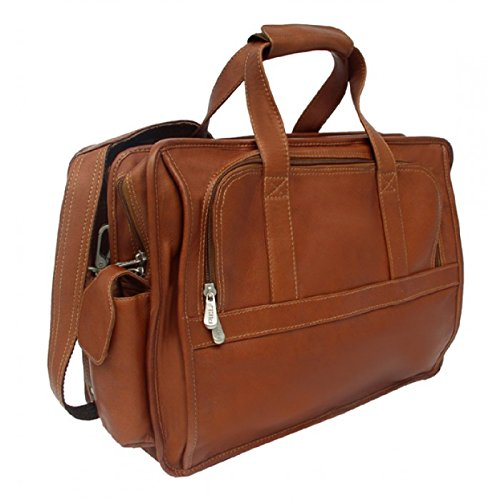 Piel Leather Entrepeneur Half-Moon 17 Computer Briefcase in Saddle