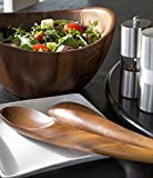 Nambe Wood Salad Bowl with Servers