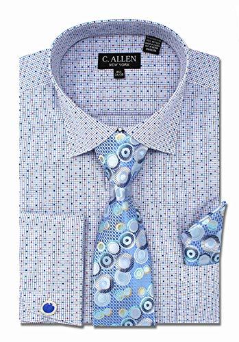 (C. Allen Men's Checks Dot Printed Regular Fit Dress Shirts with Tie Hanky Cufflinks Combo Blue)
