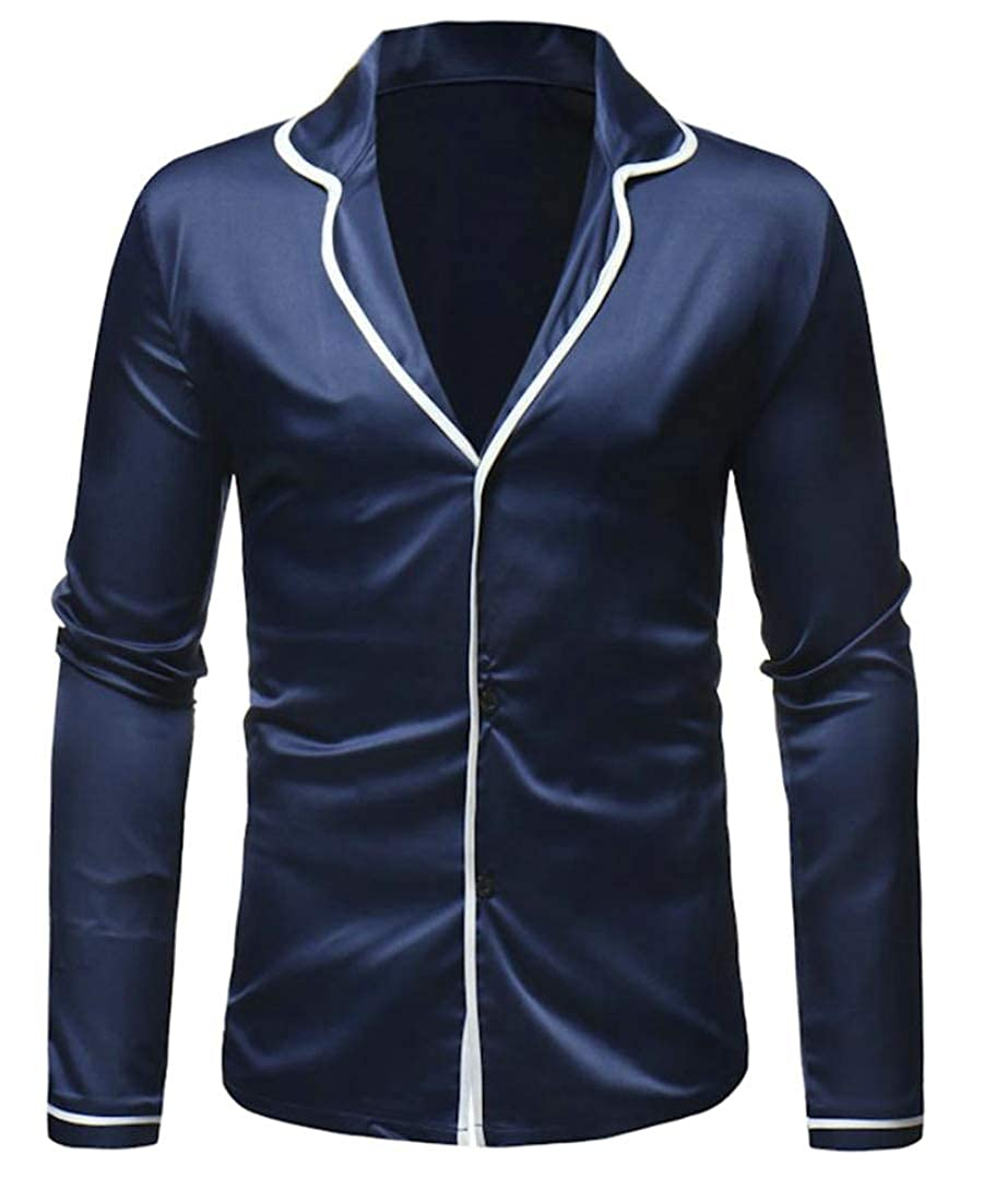 Lutratocro Mens Slim Fit Tops Pure Color Notched Lapel Long Sleeve Button Front Shirts