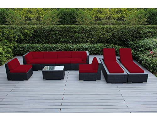 Ohana 9-Piece Outdoor Patio Furniture Sectional Sofa and Chaise Lounge Set, Black Wicker with Sunbrella Jockey Red Cushions - No Assembly with Free Patio Cover
