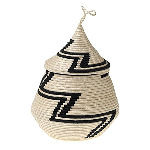 The Crabby Nook Rwandan Lidded Vessel African Basket Black White Sisal Handwoven Home ()