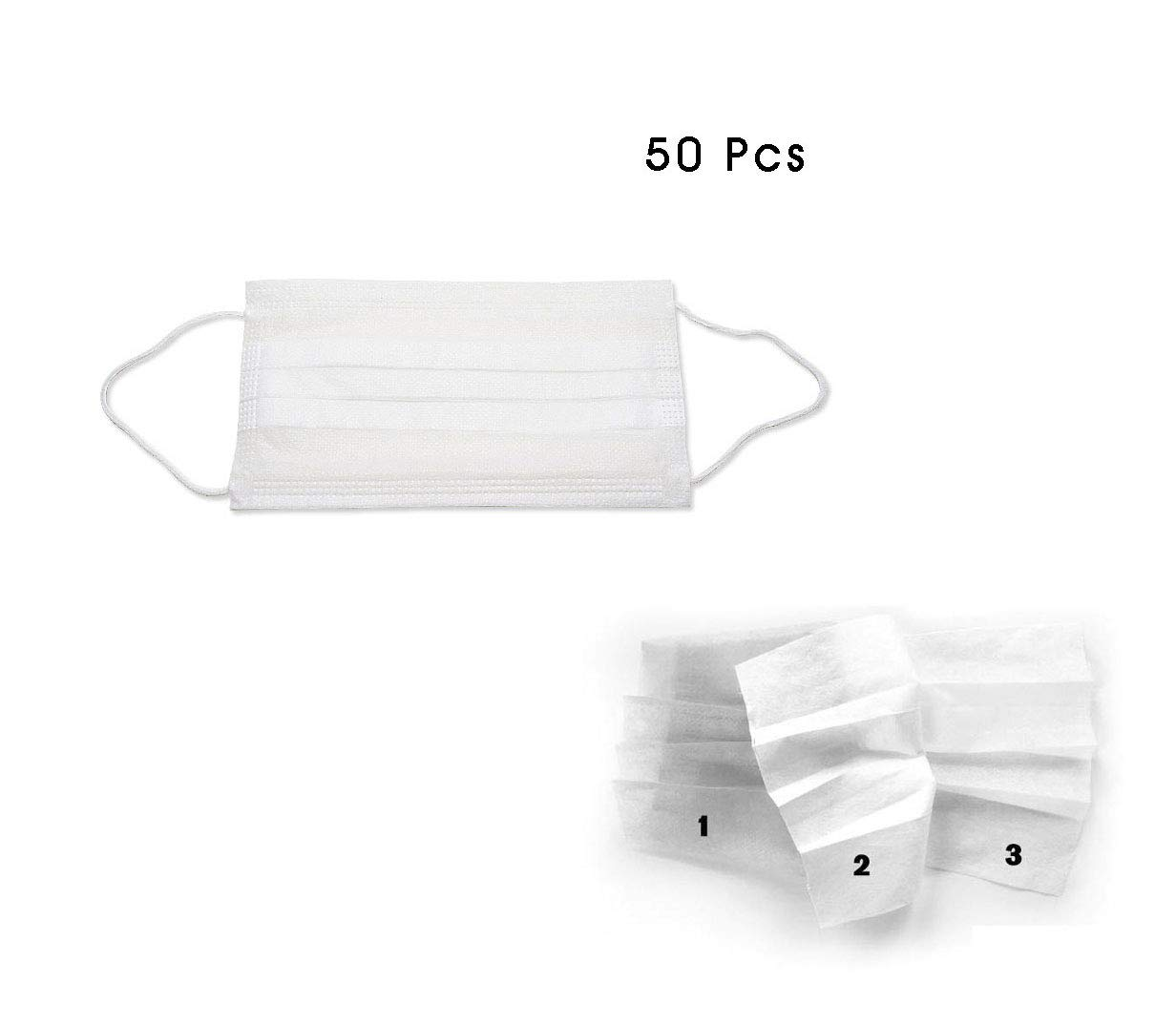 50 pcs disposable respirator earloops mouth face masks