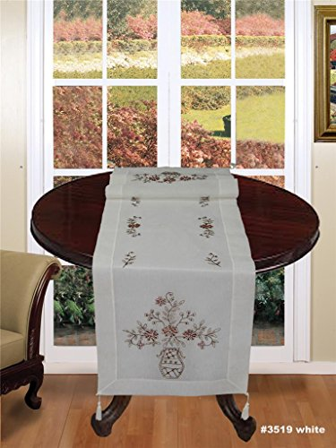 Creative Linens Hand Beaded Daisy Vase Table Runner with Tassel Ivory Dresser Scarf 16x53