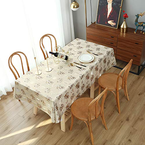 sancua Vinyl Table Cloth 100% Waterproof Oil-proof PVC Rectangle Tablecloth Stain Resistant Wipeable Table Cover for Dinner, Party, Picnic or Everyday Use, 54 x 78 inch Gold Afternoon