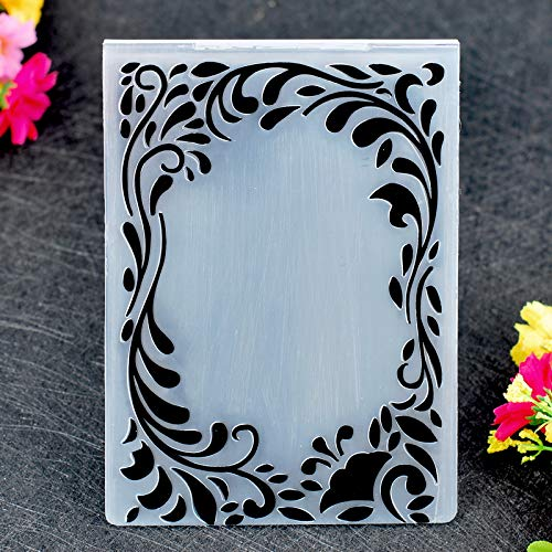 Kwan Crafts Leaves Frame Plastic Embossing Folders for Card Making Scrapbooking and Other Paper Crafts,10.5x14.4cm