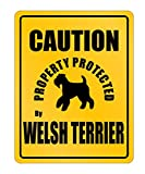 Idakoos - Caution Property Protected By Welsh Terrier - Dogs - Parking Sign