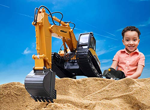 Top Race 15 Channel Full Functional Remote Control Excavator Construction Tractor, Excavator Toy with 2.4Ghz Transmitter and Metal Shovel - TR 211 by Top Race (Image #2)