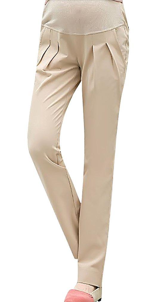 MTRNTY Women's Maternity Stylish High Elastic Waist Comfortable Capris / Pants, Khaki Pants Large