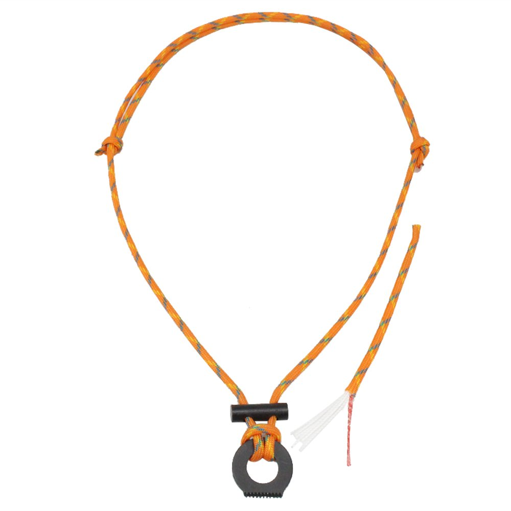 PSKOOK Fire Starter Necklace Survival Gear Flint and Steel Kit Paracord Survival Necklace Magnesium Ferro Rod Tool with Tinder Cord