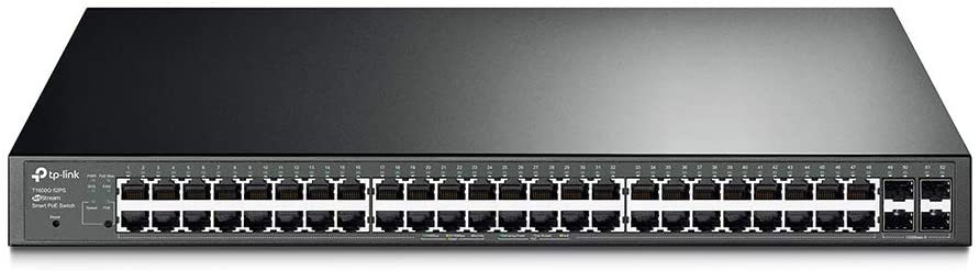TP-Link 48 port gigabit PoE switch | 48 PoE+ Port @384W, w/ 4 SFP Slots | Smart Managed | Lifetime Protection | Support L2/L3/L4 QoS, IGMP and Link Aggregation | IPv6 and Static Routing (T1600G-52PS)