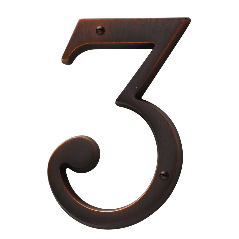 Baldwin Estate 90673.112.CD Solid Brass Traditional House Number Three in Venetian Bronze, 4.75''