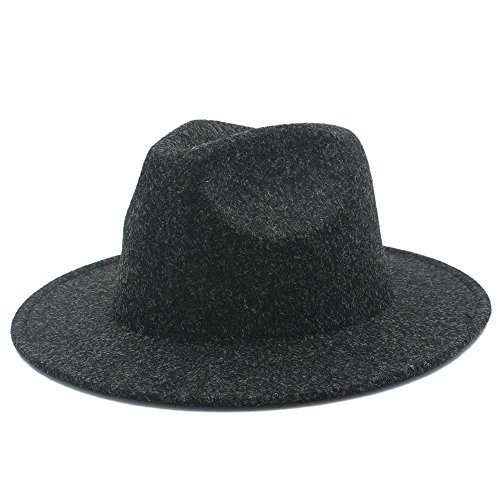 Douhuayu Women's Men's Retro Wool Fedora Hat for Lady Cashmere Wide Brim Jazz Church Cap Vintage Panama Sombrero Top Hat 20 (Color : 1, Size : 57-59cm) by Douhuayu