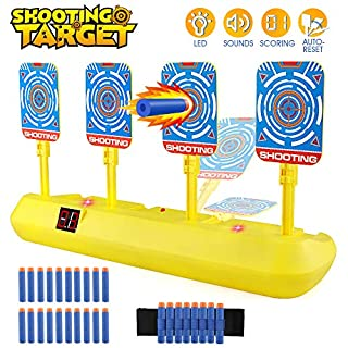Blasland Digital Target for Nerf Guns - Electronic Auto Scoring Reset Shooting Digital Target Toy with 4 Targets (20 Pcs Darts and 1 Hand Wrist Band Included)
