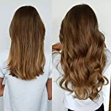 Clip in 100% Real Human Hair Extensions Silky Straight Full Head 8 Pieces (22''-110g, 06# Light Brown)