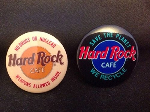 hard-rock-cafe-pin-back-buttons-set-of-2-recycle-and-nuclear-weapons