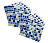 Wootile 9X9'' Peel and Stick Wall Tile in Square Classic blue,Modern Kithen Mosaic Vinyl Tile, Pack of 10